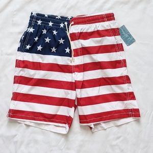 NWT Men's Old Navy American Flag Swim Trunks